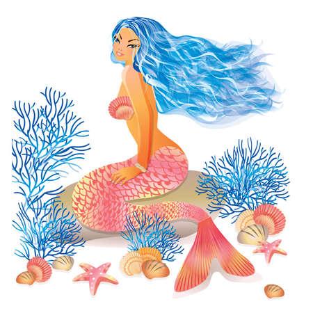 Beautiful mermaid, vector illustration Vector