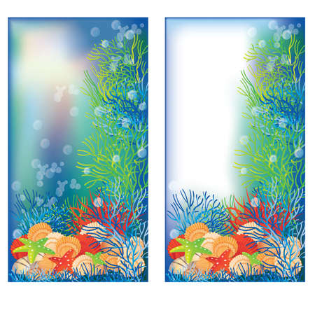at the bottom of: Two underwater banners, vector illustration