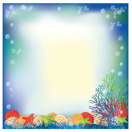 Underwater frame with white space for text. vector illustration Vector