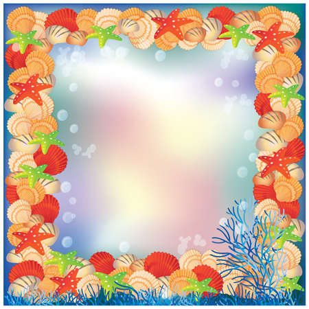 Underwater frame, vector illustration Stock Vector - 9491772