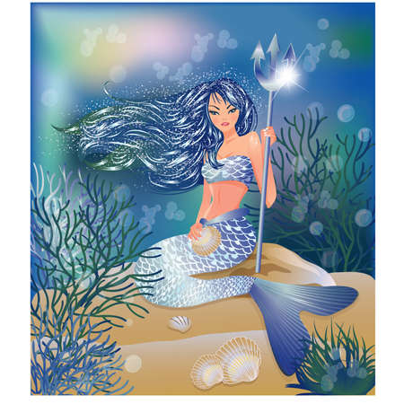 nymph: Beautiful Mermaid with Trident and seashell, vector illustration