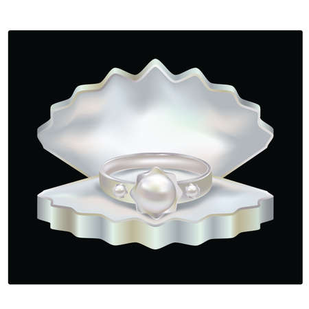 jewelery: Ring with Pearls and jewelery box, vector illustration