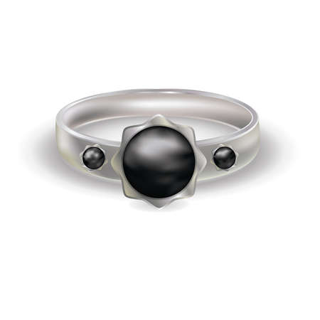 Platinum ring with black color pearl, vector illustration Stock Vector - 9524979