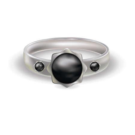 platinum style: Platinum ring with black color pearl, vector illustration Illustration
