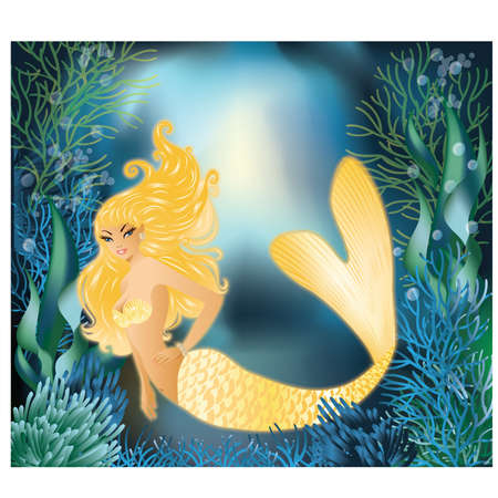 woman underwater: Pretty Gold Mermaid with underwater background, vector illustration Illustration