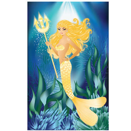 Gold Mermaid with trident, vector illustration Vector