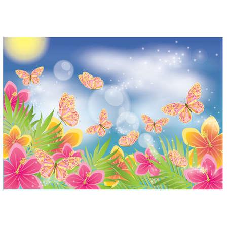 Fondo de verano con mariposa, ilustraci�n vectorial Vectores