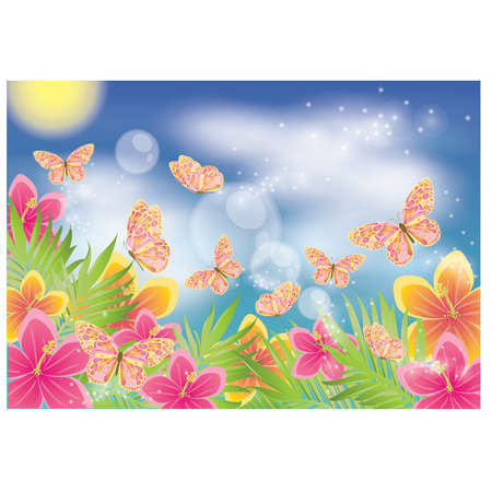 exotic butterflies: Summer background with butterfly, vector illustration Illustration