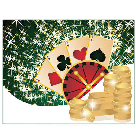Casino background with poker elements, vector illustration Vector