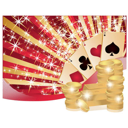 coin stack: Poker background with golden coins, vector illustration