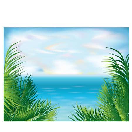 paesaggio mare: Sfondo bella estate tropicale, illustrazione vettoriale Vettoriali