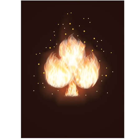 card suits symbol: Clubs card in Fire. vector illustration Illustration