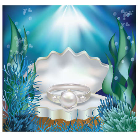 pearl jewelry: Underwater background with pearl ring.  Illustration