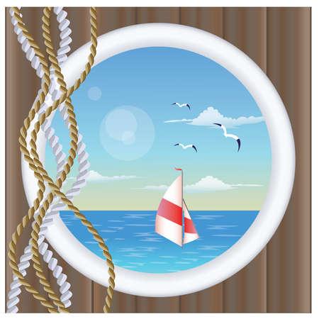marinero: Portillo de ventana con el barco flotante Vectores