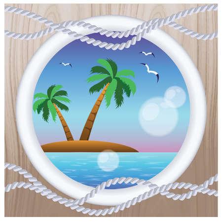 porthole: Circle window in tropical sea.