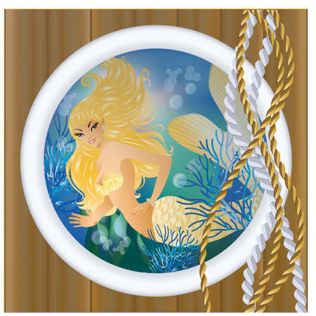 Gold Mermaid in porthole.  Vector