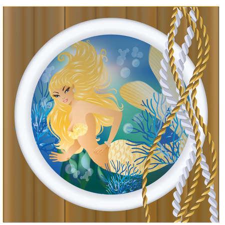 ventana ojo de buey: Sirena de oro en ojo de buey.  Vectores