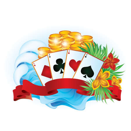 ace of diamonds: Tropical summer poker.  Illustration