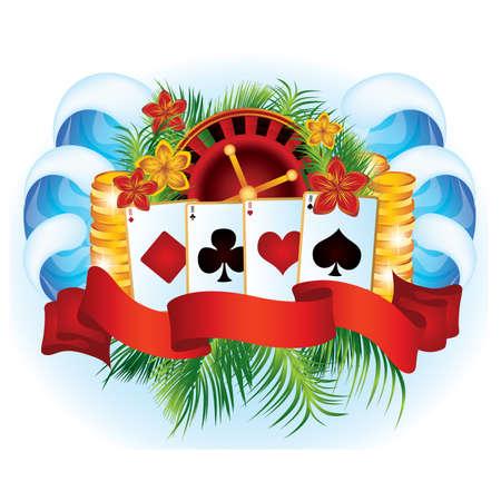 Tropical poker card Stock Vector - 9629301
