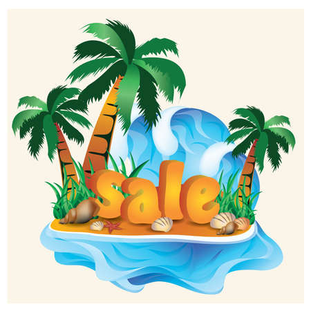 palm tree vector: Tropical sale card with palm tree. vector illustration
