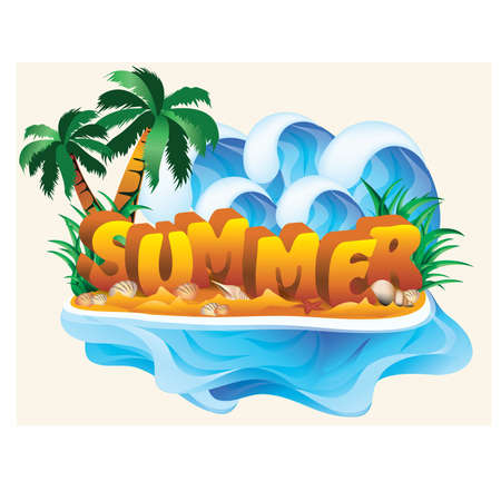 summer season: Tropical summer banner, vector illustration