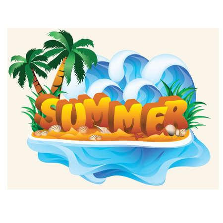 in the summer: Tropical summer banner, vector illustration