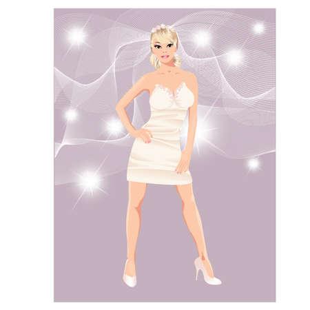 Glamour bride in mini-dress, vector illustration  Vector