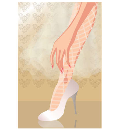legs stockings: Nozze scarpe sposa, vector illustration