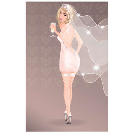 Sexy beautiful bride with champagne. vector illustration Stock Vector - 9671041
