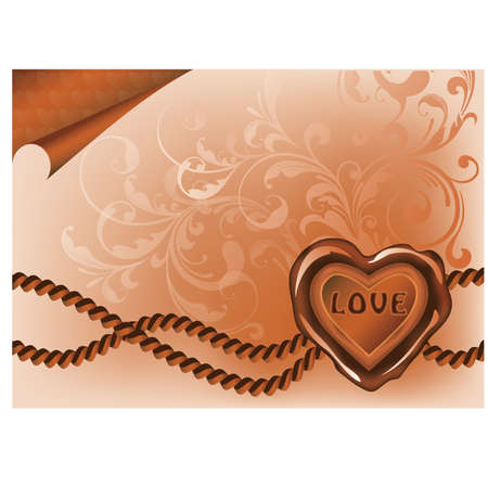 Love greeting card with heart stamp Vector
