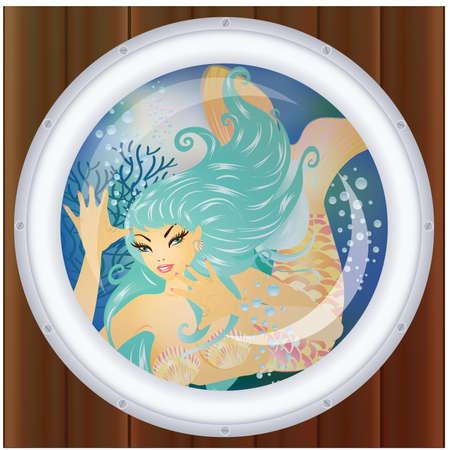 metallic seaweed: Mermaid underwater in porthole