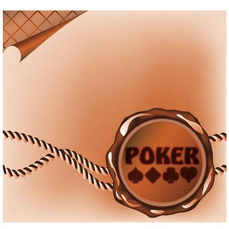 sealing: Poker card with sealing wax stamp