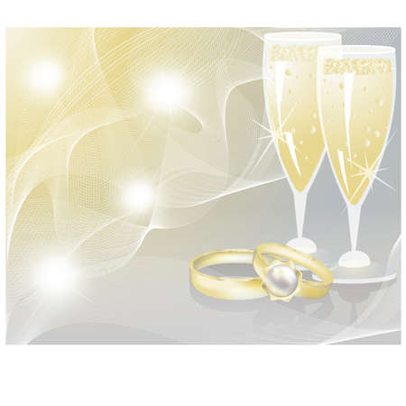 Wedding rings and two glasses of champagne. Vector