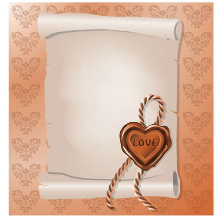scrapping: Invitation card with love stamp.  Illustration