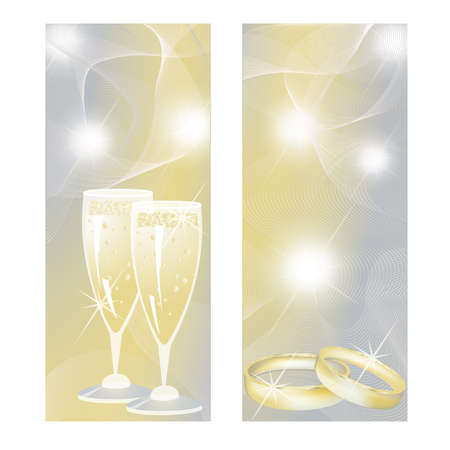 Wedding banners with champagne and rings.