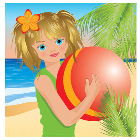 Summer little girl with red ball. Vector