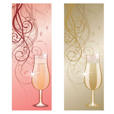 Two banners with champagne Stock Vector - 9804520