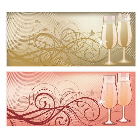 flutes: Banners with champagne glass