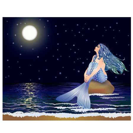 Night mermaid Vector