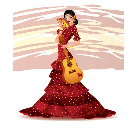 Beautiful Spanish girl with guitar