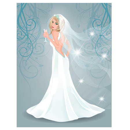 fiancee: Beautiful bride with champagne Illustration