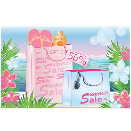 Tropical sale card Vector