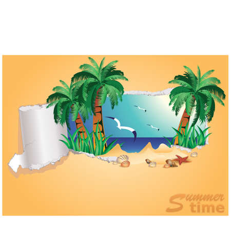 Tropical summer time banner, illustration Vector