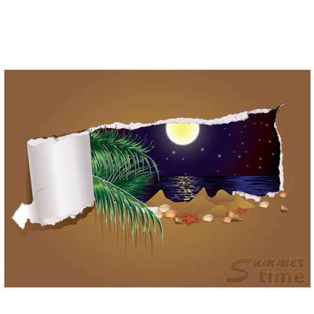 Tropical night banner, illustration Vector