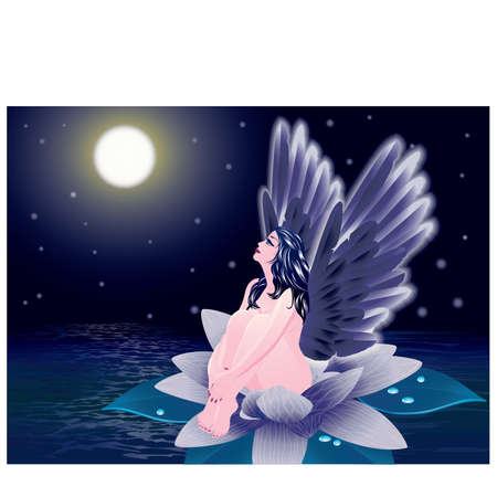 Fallen angel. illustration Stock Vector - 9913635