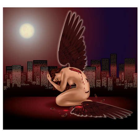 naked woman sitting: The fallen angel with broken wing. vector illustration