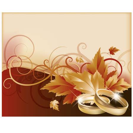 Autumn wedding card, illustration Vector