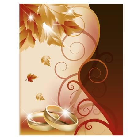 Autumn wedding invitation card. vector illustration Vector