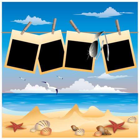 seashells: Summer beach background with photo frame, vector illustration