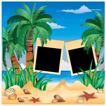 Photo frame in style scrapbooking. vector illustration Vector